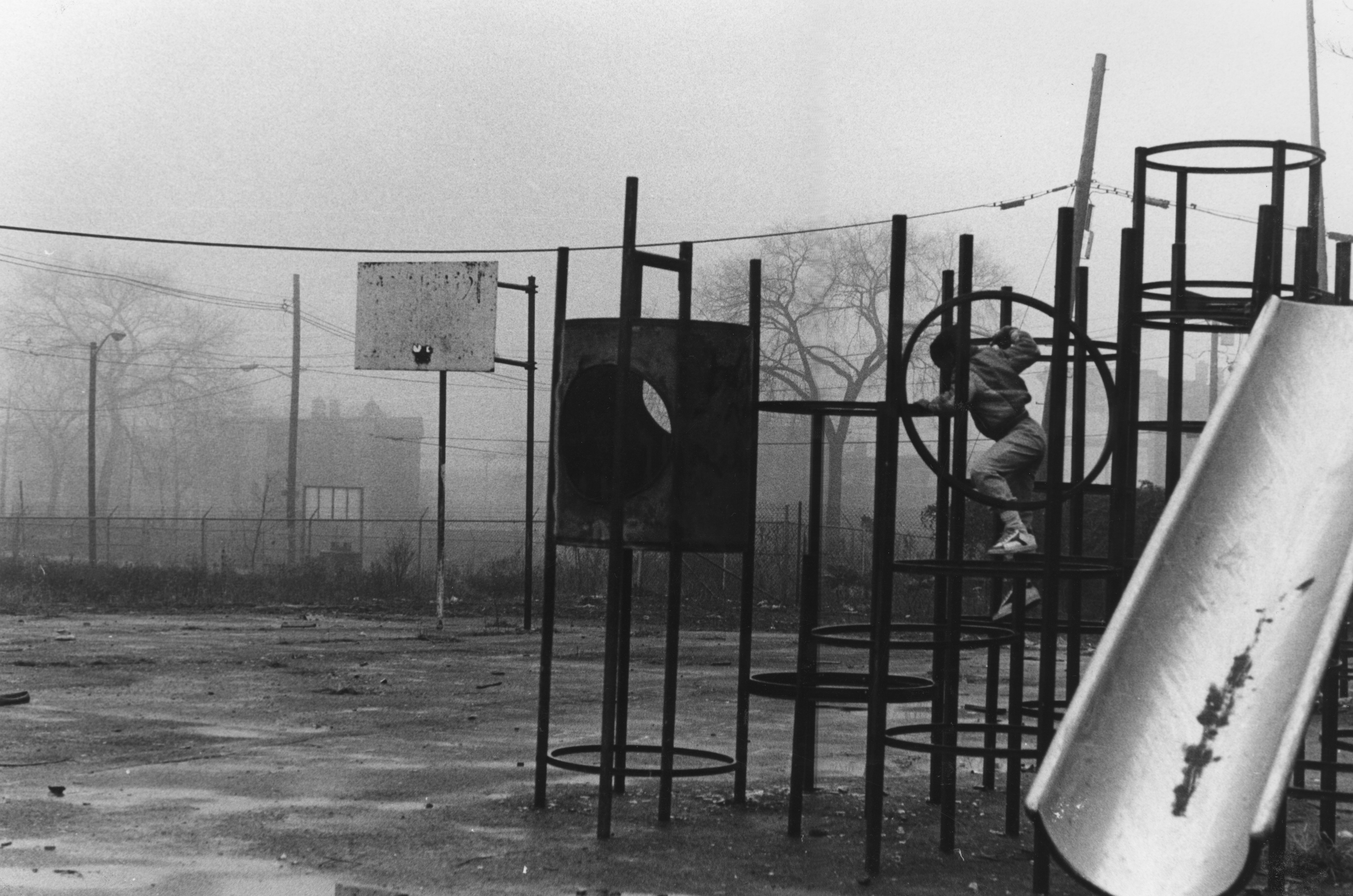 21 - PLAYGROUND IN FOG, CLOSE TO ST. ANNE'S CHURCH, 12/31/1982 (BINDER #1, FILE #42, FRAME #11-11A)